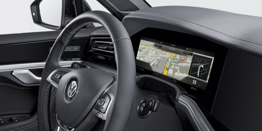Bosch debuts curved instrument cluster on the VW Touareg