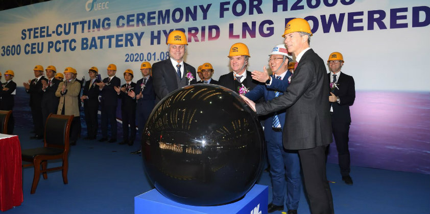 UECC celebrates the Steel Cutting Ceremony for its first Battery Hybrid LNG Powered PCTC